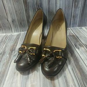 Talbots Gold Strap Tassle Leather Heels